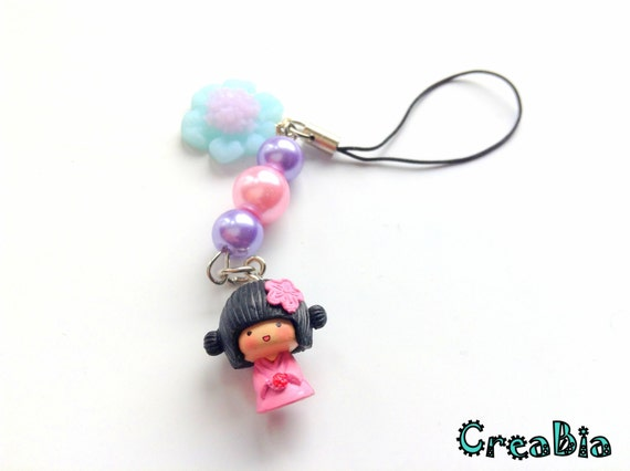 kawaii japanese geisha phone charm pink polymer by