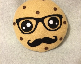 Hipster Chocolate Chip Cookie Plush with Mustache
