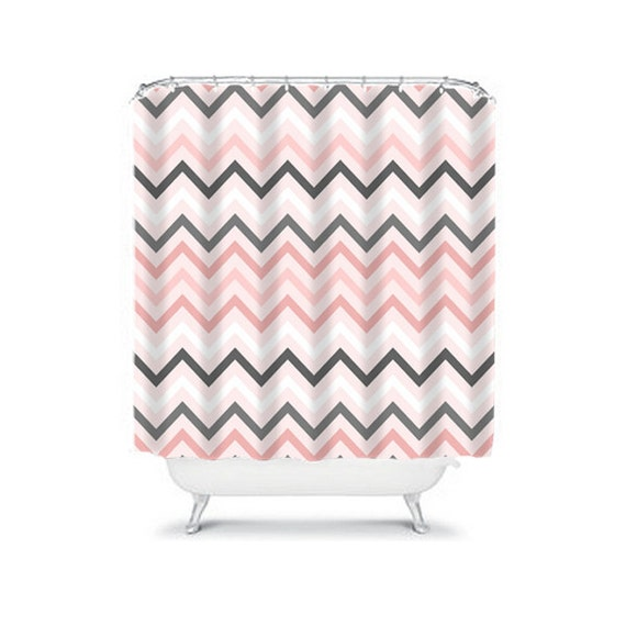 Items similar to chevron shower curtain pink gray girl for Pink grey bathroom accessories