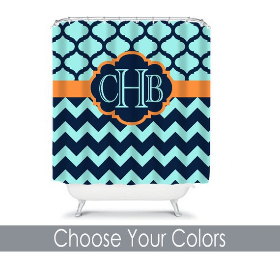 Items Similar To Navy Orange Turquoise SHOWER CURTAIN Chevron Quatrefoil Cust