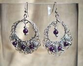 Wire Crochet Beaded Earrings - Silver and Eggplant Purple