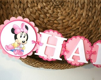 Baby Minnie Mouse Birthday Banner Happy 1st Birthday Banner Pink and White Birthday Banner Baby Disney Character Banner