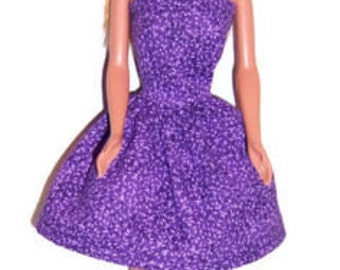 Fashion Doll Clothes-Purple Floral Strapless Party Dress
