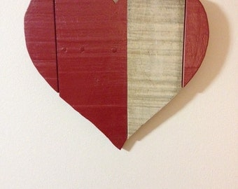 Pallet wood red heart, rustic wooden heart, red heart wall hanging, rustic farmhouse decor, pallet wood home decor, christmas gift
