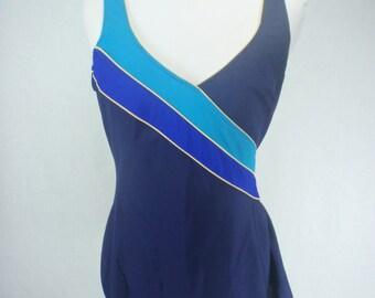 1970s Vintage Blue One Piece Bathing Suit, Swimsuit with Skirt , Vintage Swimsuit, 1970s swimsuit, 70s swimsuit, Dress, Pinup, Bathing Suit