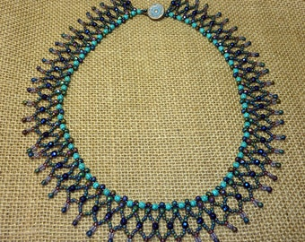 Turquoise and Haematite Netted Bead Necklace