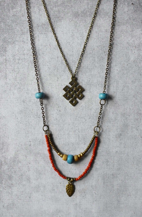 boho necklace endless knot pendant blue by