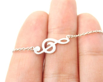 Musical Themed Treble Clef Pendant Necklace in Silver  | Minimalistic Handmade Jewelry