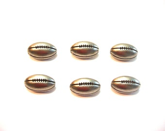 Silver Football Buttons Galore Tailgating Set of 6 Shank Back - 901