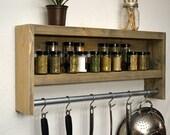 Rustic Modern Kitchen Shadow Box Shelf Pot Rack Hooks Wall Spice Rack with Towel Bar Weathered Gray