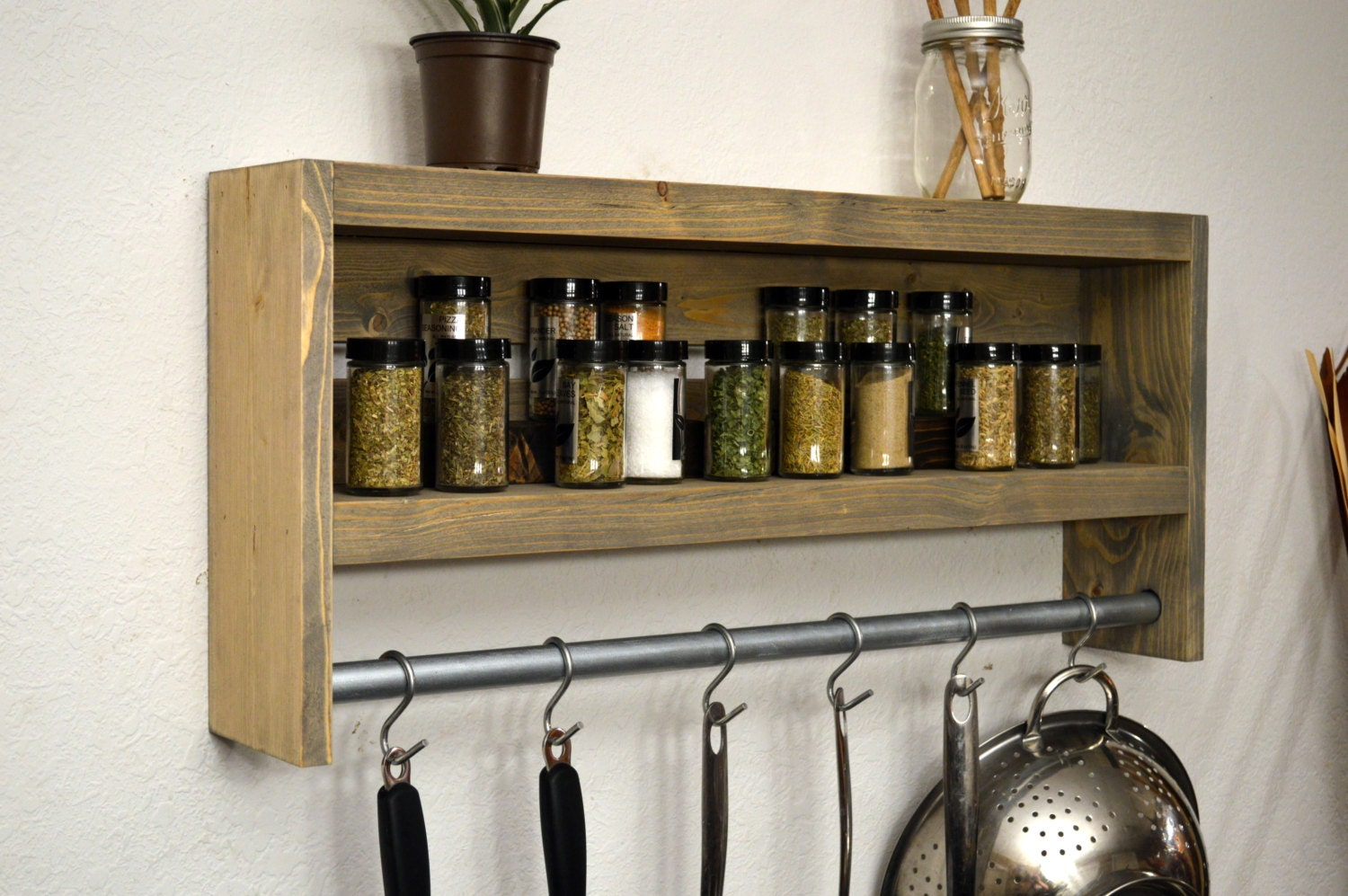 Rustic Modern Kitchen Shadow Box Shelf Pot By