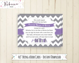 bring a book card baby shower book insert printable bring a book instead of card baby shower insert matching bring book purple lavender 134