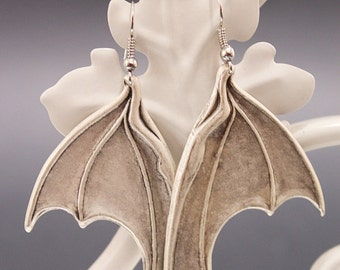 Halloween Dragon / bat wings Vampire Gothic earrings - silver plated - Victorian Gothic Jewelry