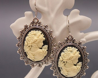 Lady Victorian earrings - with black and cream cameo and silver tone setting - Victorian Gothic Jewelry