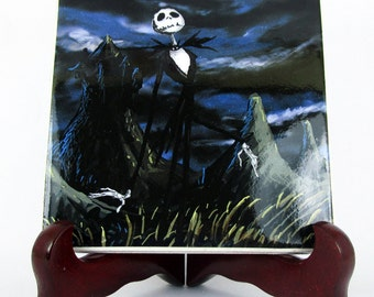 The Nightmare before Christmas - Handmade Collectible Tile   - Jack Skellington Tim Burton wall art decor gothic mod. 2