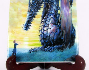 Tales from EarthSea - Studio Ghibli art - Arren and the Dragon - collectible ceramic tile - Studio Ghibli gifts - Miyazaki anime handmade