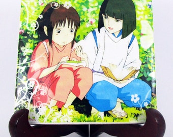 Chihiro and Haku in the meadow from Spirited Away collectible Ceramic Tile Studio Ghibli art Miyazaki Spirited Away Haku gift idea Mod.5