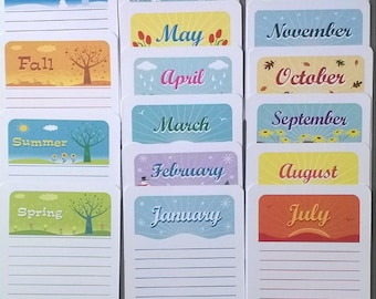 Journalling cards - months and seasons SET OF 16