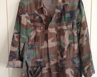 Vintage US Army Jacket Size Large. Shredded, distressed and Patched!