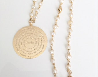 Our Father Prayer Gold Rosary Pearl Necklace, Delicate White Freshwater pearl Rosary, Gold filled, Our father Prayer Medal, Padre Nuestro