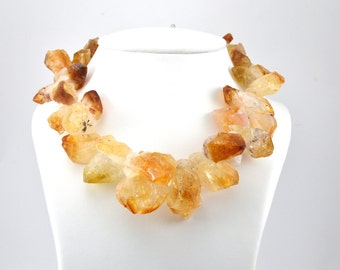 Citrine necklace , yellow necklace, raw citrine , raw citrine necklace