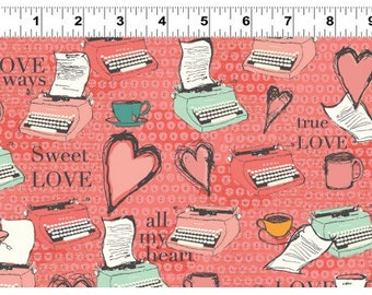 Typewriter Fabric, All My Heart Fabric, Clothworks Y1564-40 Iron Orchid Designs, Valentines Day Quilt Fabric, Love Fabric, Cotton
