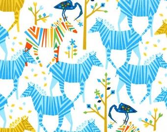 Zebra Fabric, Michael Miller DC6398 Origami Oasis, Zoo Animal Fabric, Zebras, Cranes, Trees, Nursery Decor Fabric, Cotton Baby Fabric