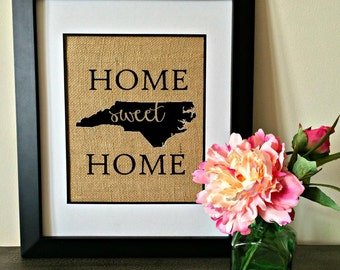 Home Sweet Home State Burlap Print. Personalized State Burlap Print. Burlap Art. State Art.