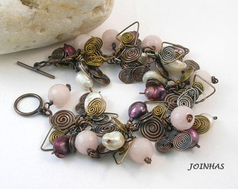 Copper Silver Brass Bracelet, Handmade Charm Bracelet, Wire Wrapped Jewelry Handmade, Pink Pearl Bracelet, Spirals Charm Bracelet