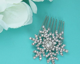 Snowflake Wedding Comb, Crystal Rhinestone Snowflake Comb, Wedding Comb, Bridal Hair Comb, winter wedding comb, Comb Headpiece 210972361