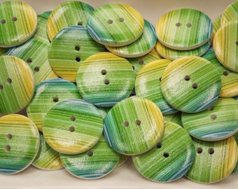 Large wooden buttons , bright green stripes, each one 30mm diameter, pack of 10