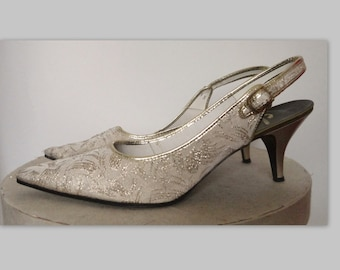 60s Vintage Gold Brocade Pumps // Charrelli Europe Modes // Size 37,5