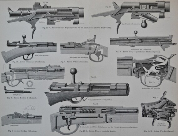 Rifles system engraving. Old book plate, 1890. Antique illustration. 124 years lithograph. 9'4 x 11'7 inches.