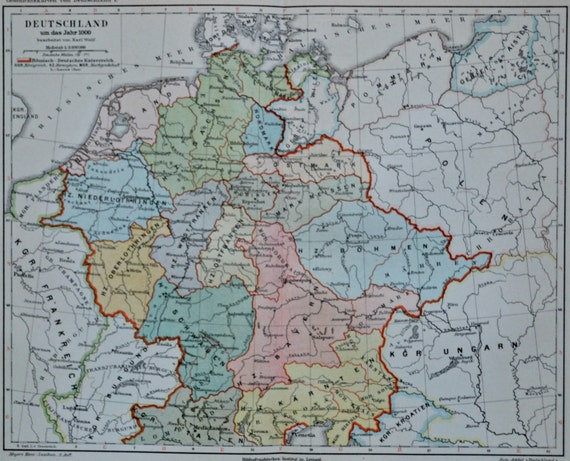 German map in the 11th century. Old book plate, 1897. Antique illustration. 118 years lithograph. 9'6 x 11'7 inches.