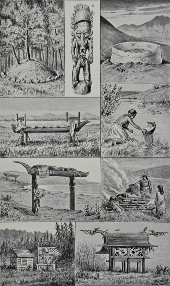 Funeral rites of primitive peoples. Old book plate,1897. Antique illustration. 118 years lithograph. 9'2 x 6 inches.