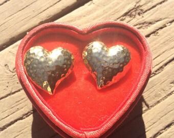 Gold Heart Earrings in a Red Heart Jewel Box