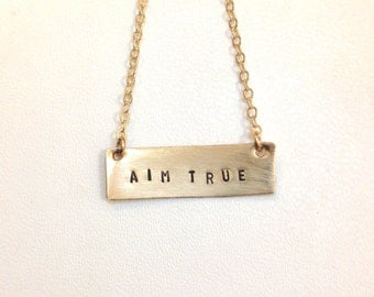 Aim True Necklace, Gold Bar, Mantra Necklace, Affirmation Necklace, Kathryn Budig