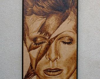David Bowie portrait pyrography art