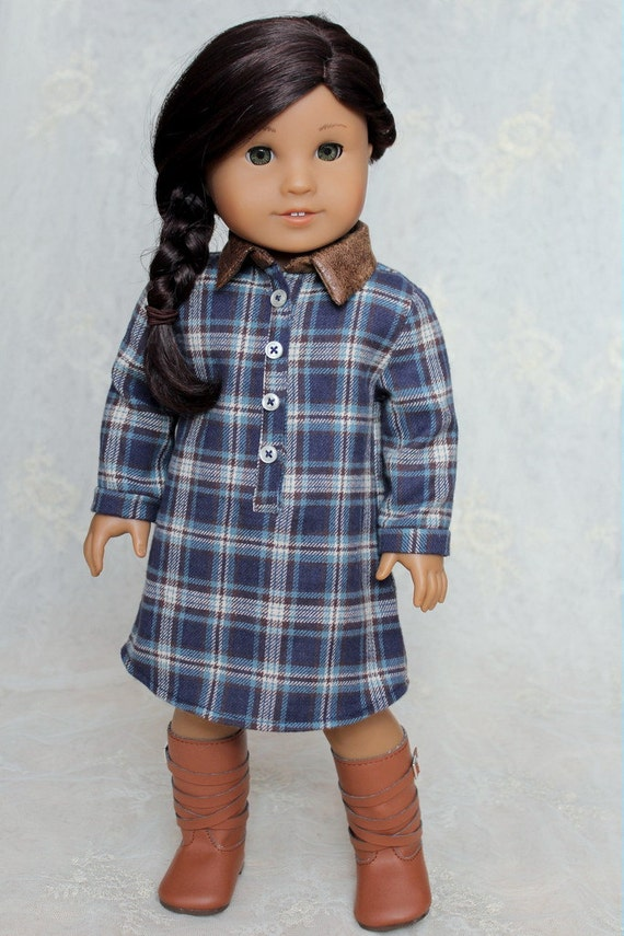 "Flannel and Leather Shirt-dress for American Girl or 18"" Doll"