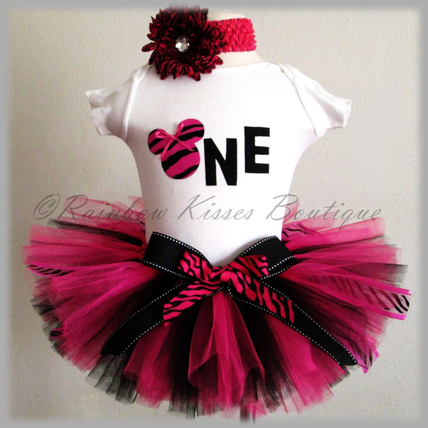 1st Birthday Tutu Outfit Pink Tutu Outfit Zebra By