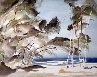 Blue water, Beach, Impressionistic  Art,Modern, An Original Watercolor Painting. Deserted Island  Size 18x24 Unframed.