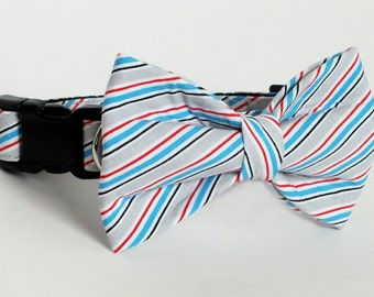 SALE Striped Dog Collar Bow Tie set, patriotic, pet bow tie, collar bow tie, wedding bow tie
