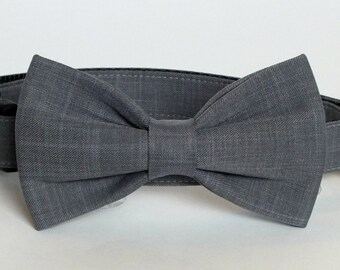 Gray Suiting fabric bow tie ONLY for dog/cat collars, wedding, pet bow tie, collar bow tie, wedding bow tie
