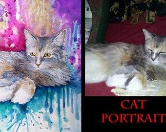 Gift from cat Custom Portrait  Pet Portrait original watercolor painting Custom Portrait, cat custom pet portrait, original painting