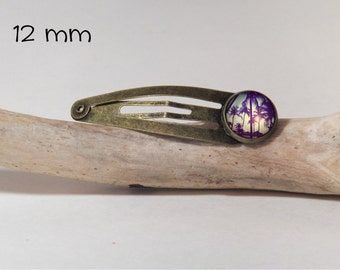 Palm Hair clip SNAP 12 mm diam. Round glass and metal