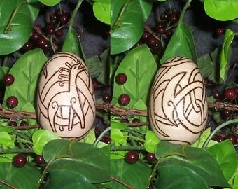 "Viking Urnes Ostara ""Easter"" Egg - Wooden Wood Burned - Fairies Pixie Elf - Nature - Celtic Knot"