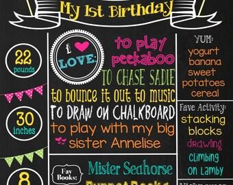 First Birthday Chalkboard -Polka Dot and Pinwheel theme Birthday- Baby's First Birthday chalkboard- 16x20 printable / spring time chalkboard