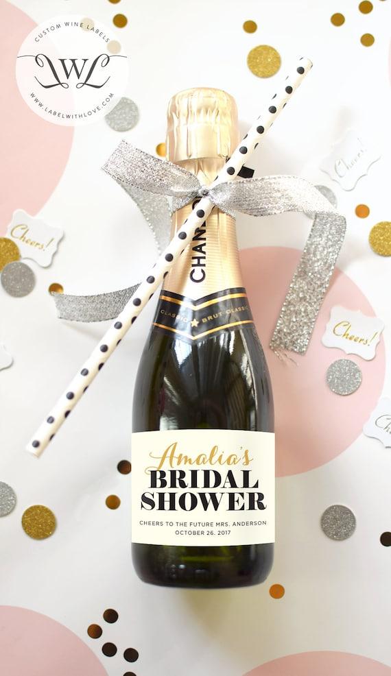 Custom Bridal Shower Mini Champagne Bottle Labels By
