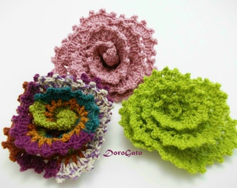 Easy crochet flower pattern, crochet Tutorial pattern, step by step pattern, flower pattern, brooch pattern, DIY, Instant Download /5004/