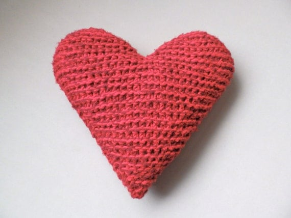 Knitted Heart Shaped Throw PIllow Handmade by LittleVisionsThrift